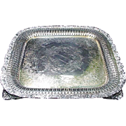 Vintage International Silver Co. Silverplated Tray, Square with Reticulated Border