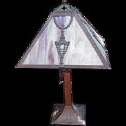 Vintage Desk Lamp with Slag Glass Panels