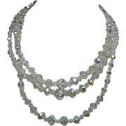 Vintage Three-Strand Crystal Beaded Necklace