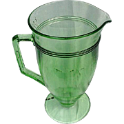 Stately Green Pressed Glass Water Pitcher