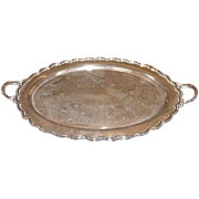 Vintage Oval Silverplated Tray, Double Handled