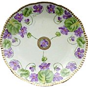 Royal Rudolstadt Hand-Painted Porcelain Plate Violet Decoration, Signed