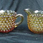 Vintage Amber, Pressed Glass Cream & Sugar, Hobnail Design