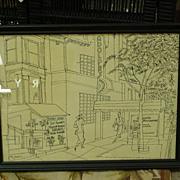 Artist's Sketch 1952, Metropolitan Street Scene, Greenwich Village, New York, Signed Mahon