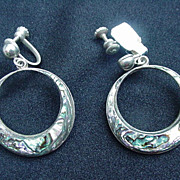 Abalone and Sterling Silver Hoop Earrings, Mexico, Screw Back