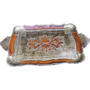 Vintage Florentine Tray with Terracotta and Gold Decoration