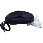 Black Satin Cocktail Hat with Curly-Que Extension, Bows