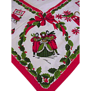 Vintage Cotton Tablecloth, Christmas Theme