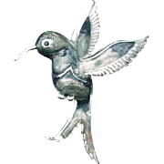 Hummingbird Brooch, Silver-Tone with Enamels