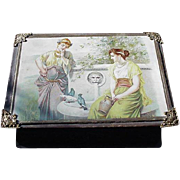 Victorian Era Sewing Box, Classical Figures on Lid