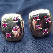 Yves St. Laurent Vintage Clip Earrings, Goldtone Metal, Red Stones