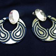 Napier Stylized Peacock Hoop Earrings, Clip & Screw Back Combo