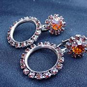 Vintage Gold Tone Hoop Dangle Earrings, Prong Mounted Orange Stones