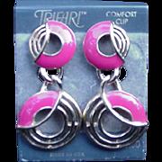 Trifari Comfort Clip Dangle Earrings, Go Go Mid-Century Design