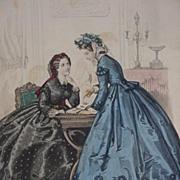 Le Bon Ton Fashion Print, 19th C. Tear Sheet from the Paris Fashion Journal
