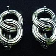 Vintage Givenchy Silver Tone  Metal Clips, Interlocking Circles