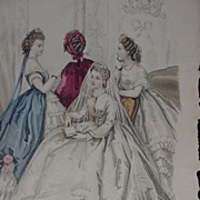 SALE Le Bon Ton,  19th C. Paris Fashion Journal, Original Page of Women's Fashions