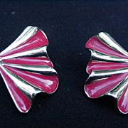 Vintage Goldtone and Scarlet Enamel Fan-Shaped Clip Earrings