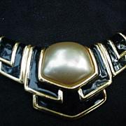 Vintage Napier Necklace, Black Beads, Goldtone Frame, Pearlized and Enameled Center Plaque