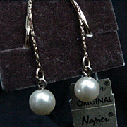 Napier Goldtone Dangle Clip Earrings with Simulated Pearl