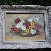 SALE Vintage Oil, 20th C. Florida Artist, Amelia Darr, Floral Still Life