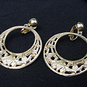 Vintage Clip Earrings, Goldtone Hoop Dangles