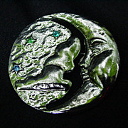 Vintage Silvertone Man-in-the-Moon Pin with Stone Set Stars