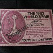 1982 World's Fair Ticket, Knoxville, TN