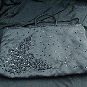 Black Satin Evening Purse with Large Beaded Flower and Leaves