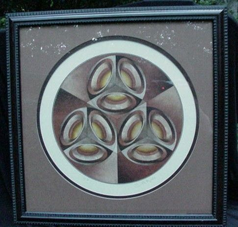 1970s Airbrushed Image of Metal Cubes, Signed & Numbered
