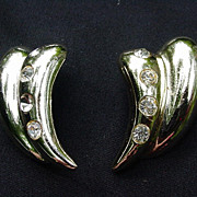 Vintage Goldtone Leaf-Shaped Clips w Rhinestones Embedded Along Side