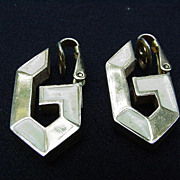 Vintage Givenchy G Clip Earrings, Goldtone and Enamel