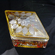 Vintage Cut Crystal Diamond-Shaped Box, Frosted Floral Design on Lid
