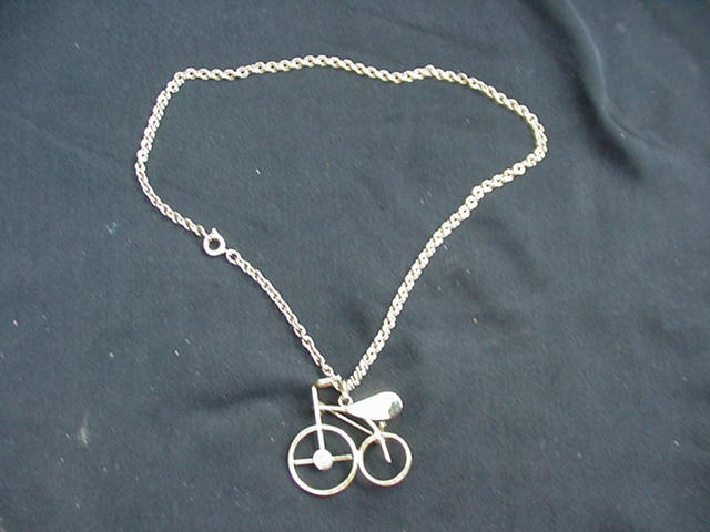 Vintage Goldtone Bicycle Pin or Pendant and Chain