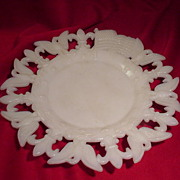 SALE PENDING 1903 Milk Glass Plate with Eagles, Flags and Fleur de Lis Border