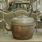 REDUCED Early Copper Kettle, Rigid Handle, Marked on Base