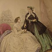 Le Bon Ton, Paris Fashion Journal Illustration, 19th C. Print