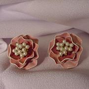Vintage Marvella Earrings, Pink Enamel Flowers w Faux Pearl Center