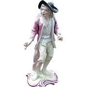REDUCED Porcelain Figurine, French Vagabond w Blue Cross Mark at Base