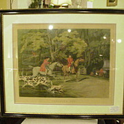 REDUCED 19th C. English Hunt Scene by Alkin, Throwing Off, Plate 1