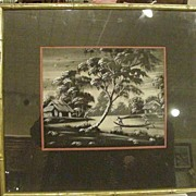 REDUCED Japanese Painting on Silk, River Scene, Boat