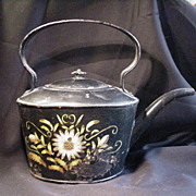 REDUCED 18th C. Toleware Kettle w Flower Decoration, Japanned Body