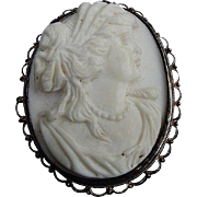 14 Kt. Shell Cameo Locket/Pin in Metal Frame