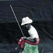 REDUCED Black Americana Character Gone Fishing