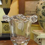REDUCED Daum Crystal Vase or Champagne Bucket, Heavy, Heavy Glass