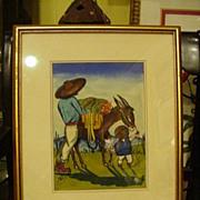 SALE Watercolor Central America Genre Scene, 1960s