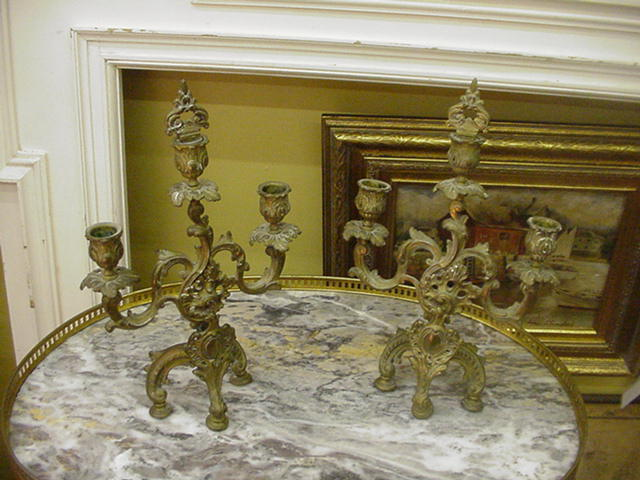 Pair of French Louis XV Style Three-Arm Candelabra w Finials