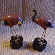 SALE Pair of Vintage Cloisonne Cranes