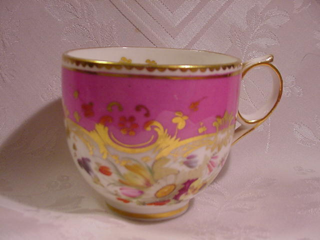 19th Century Old Paris Chocolate Cup, Rocaille and Floral Decoration