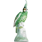 SALE Fabulous Mottahedeh Green Parrot on Tree Trunk Perch, Italy